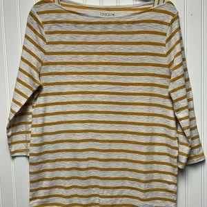 Time & Tru Yellow Stripped Shirt